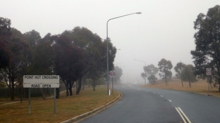Point Hut Road Sign Fog