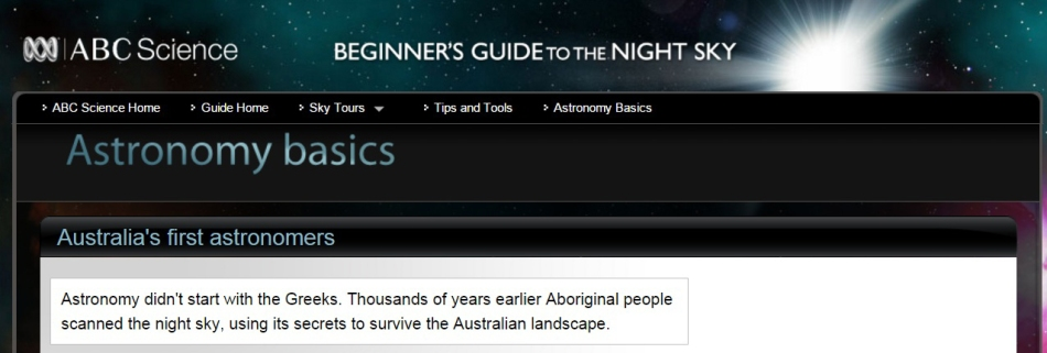 Opening Screen for Astronomy Basics