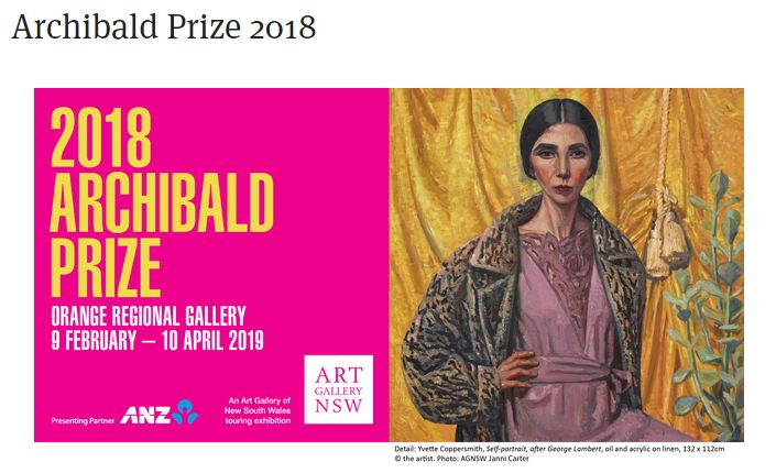 Infographic advertising the 2018 Archibald Prize at the Orange Regional Gallery, containing link to the ORG gallery.